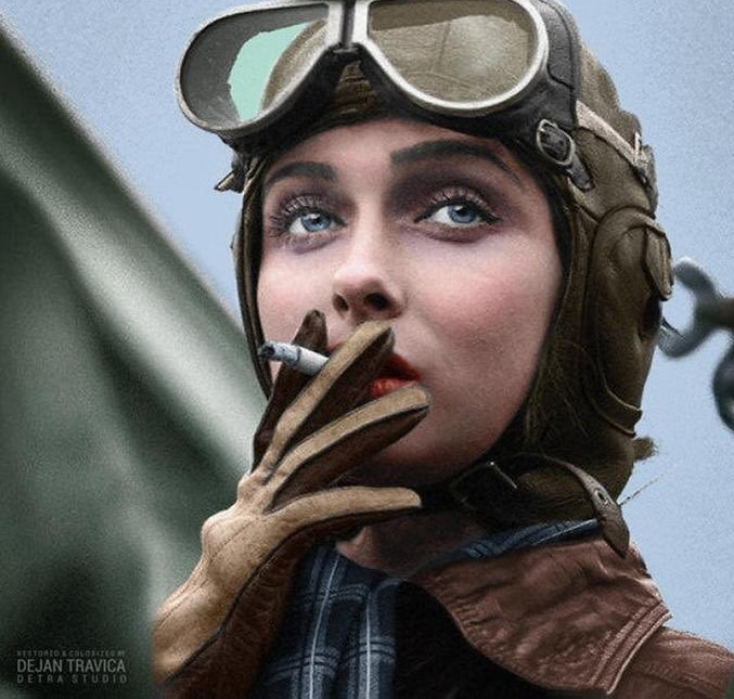 One of the American female aviators who flew missions in WWII in the Women Airforce Service Pilots (WASPs)