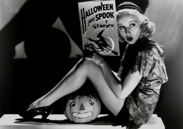 Young Betty Grable reading ghost stories, late 1930s