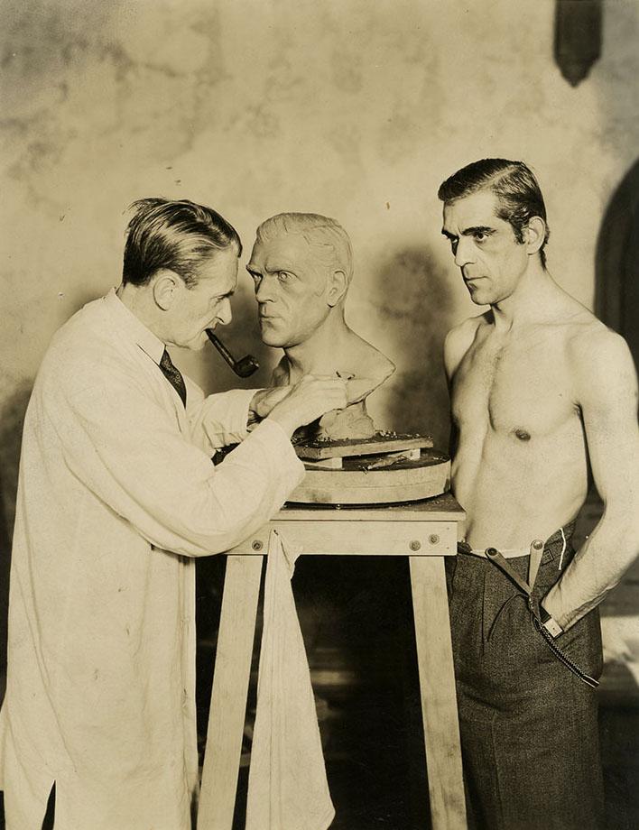 Boris Karloff posing for sculptor Ivan Simpson, photo by Ray Jones (early1930s)
