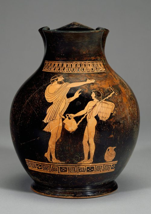 Ancient Greek vase depicting Dionysus urinating