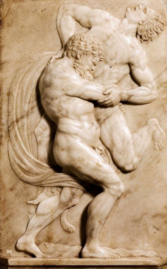 Hercules and Antaeus in combat, Italy,1500s