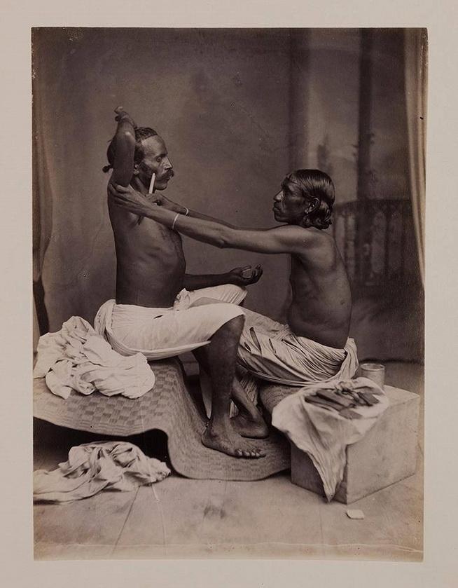Applying henna, India,1800s