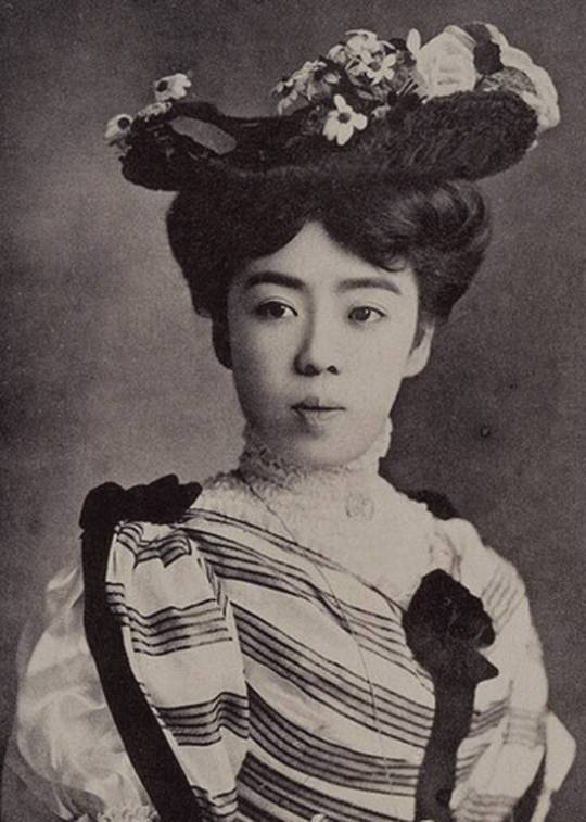 Vintage Japanese woman wearing a mix of Japanese and Western fashion