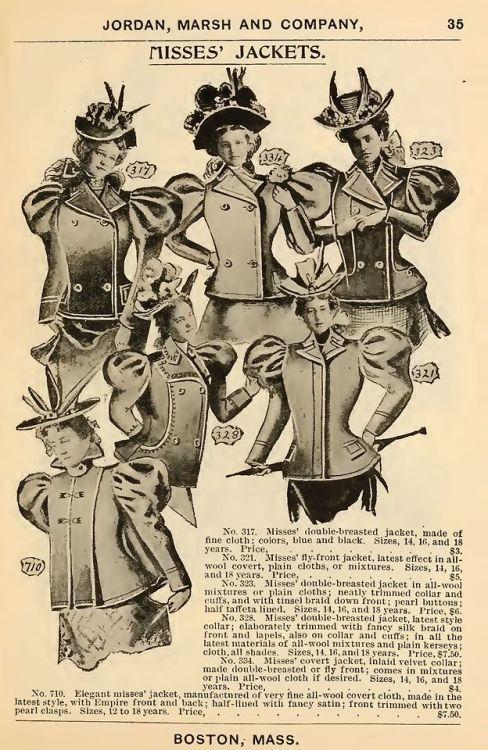 Young women's jackets, Jordan Marsh, Boston, circa1900