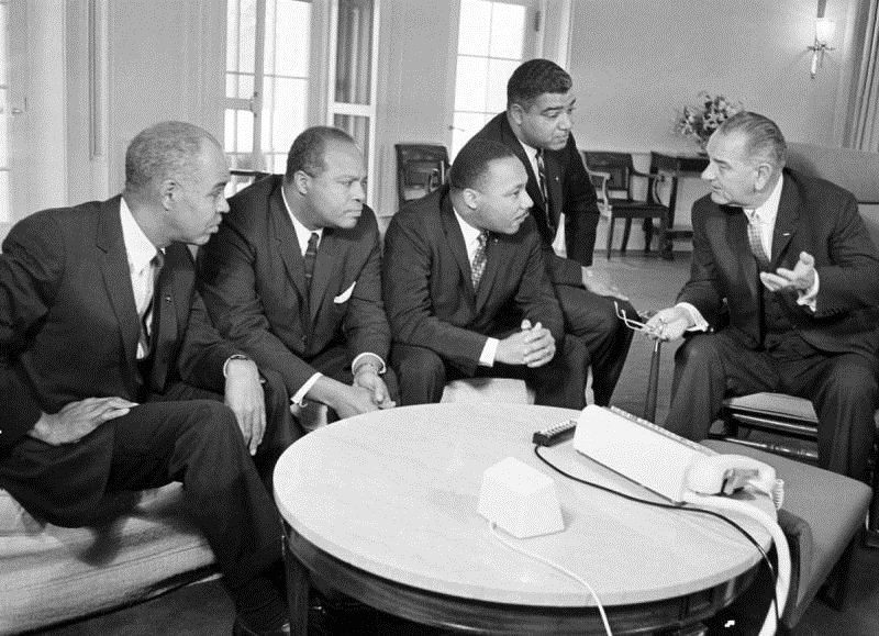 US President Johnson meeting with Black Civil Rights leaders (including MLK Jr.) at the White House, 1960s
