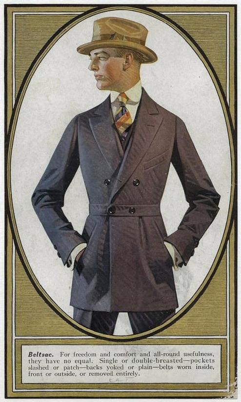 Men's fashion, circa 1910 (I think one of JC Leyendecker's earlierdrawings)