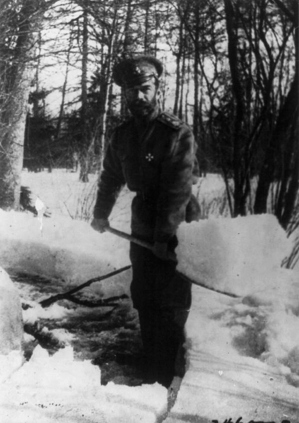 Nicholas II shoveling snow in Siberia while being held captive by the Bolsheviks, winter of 1917-8