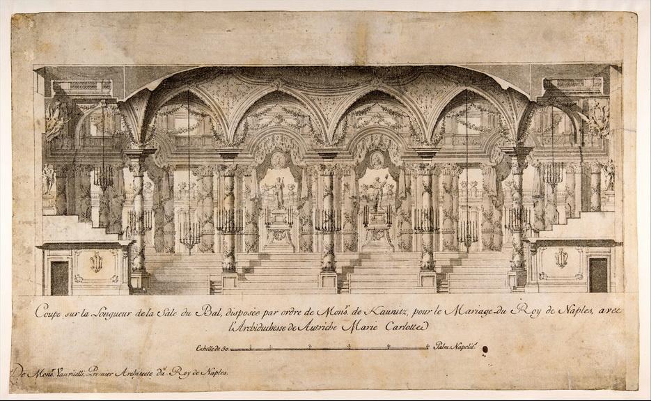 Coupe sur le longeur de la sale du bal pour le mariage du Roi de Naples avec l'Archiduchesse deAutriche