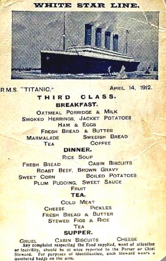Third class menu, RMS Titanic,1912