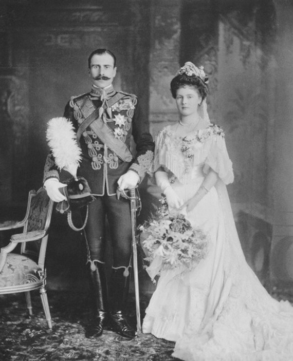 Wedding portrait of Prince Alexander of Teck and Princess Alice of Albany, Windsor Castle,England