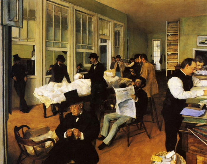 """A Cotton Office in New Orleans"" by Edgar Degas, 1873"