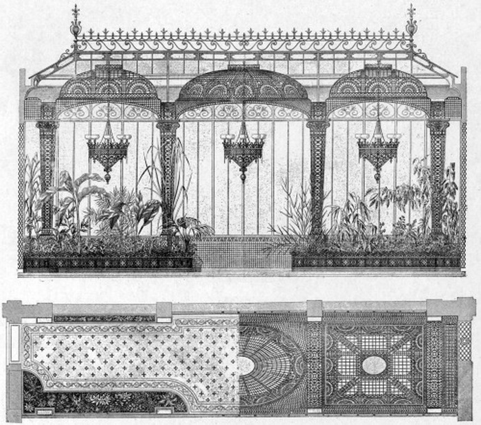 Architectural drawings of a conservatory or greenhouse,1800s