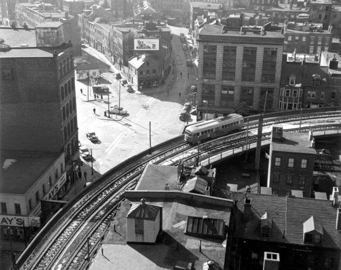 Trolley approaching North Station on elevated tracks, Boston, 1940s