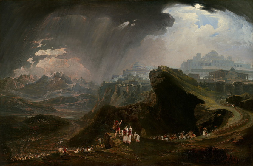 """""""Joshua Commanding the Sun to Stand Still"""", battle of Gibeon in the war to seize Canaan, by John Martin,1816"""