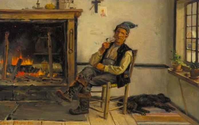 """""""Habitant à l'Île d'Orléans"""" par Charles Huot, Québec,1894"""