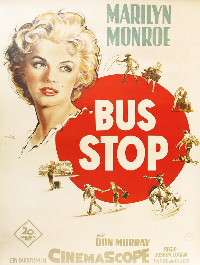 """Poster for """"Bus Stop"""" starring MarilynMonroe"""