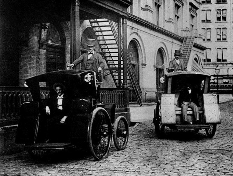 Electric taxi cabs, NYC,1890s