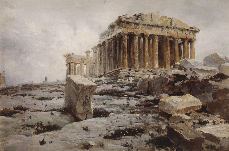 The Parthenon, Greece, by Russian artist Vasily Dmitrievich Polenov,1800s