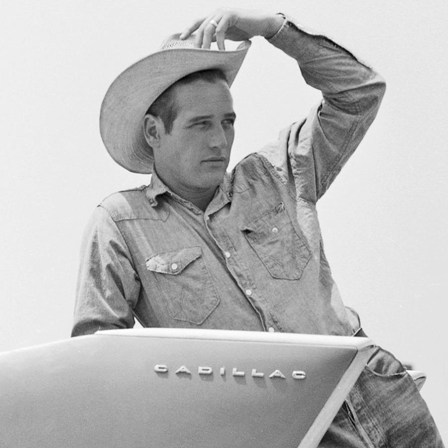 "Paul Newman leaning on a Cadillac in ""Hud"""