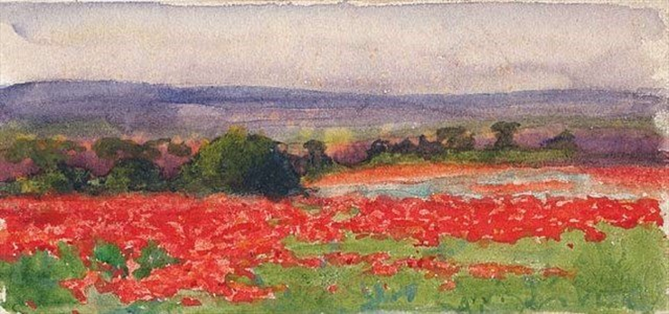 """Poppy Field, France"" by Vivian Cummings 1918"