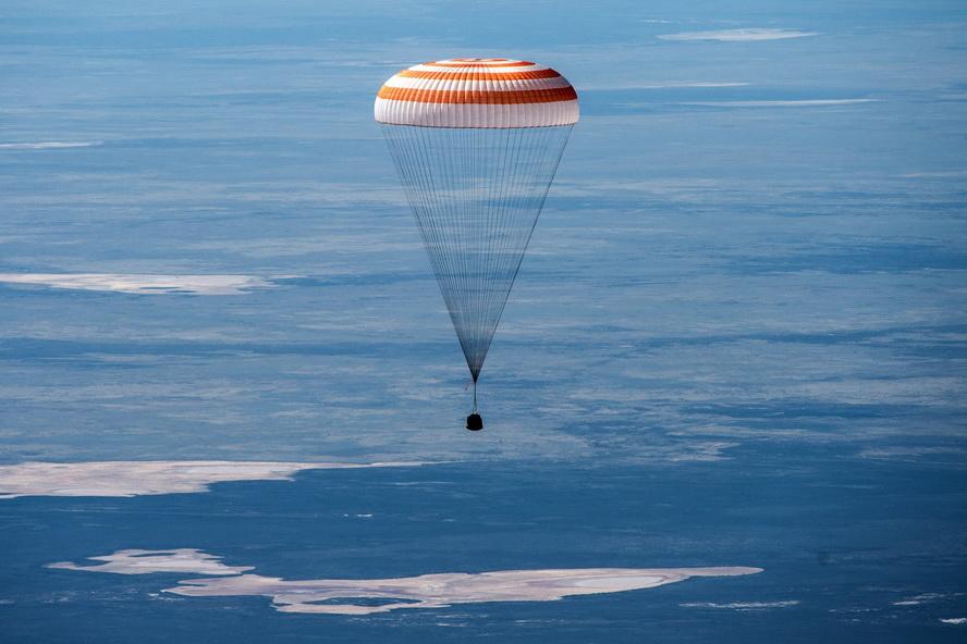 Crew members returning from the International Space Station, overKazakhstan