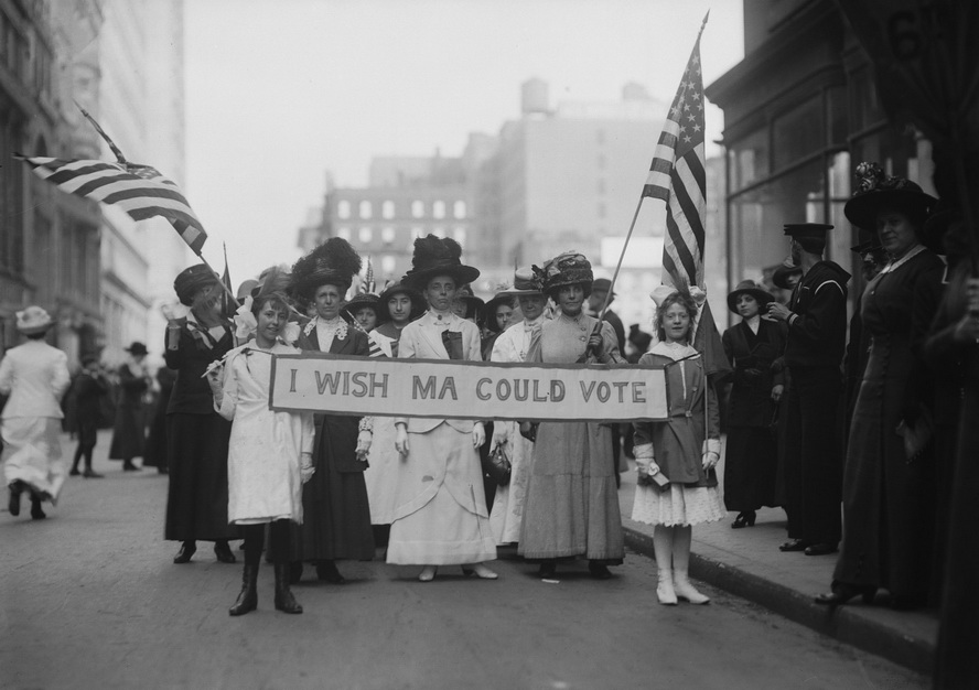 Protesting for the right of woman to vote, US, 1910s