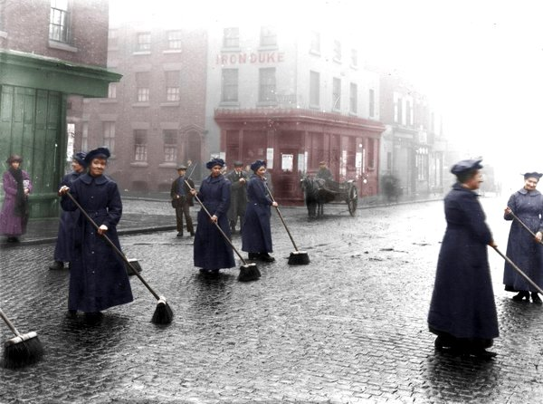 Female street sweepers in Liverpool while many of the men were away fighting WWI, 1910s