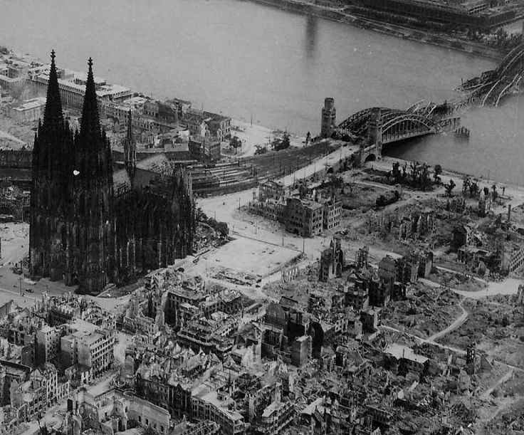 The allied destruction of Cologne, Germany, late 1944