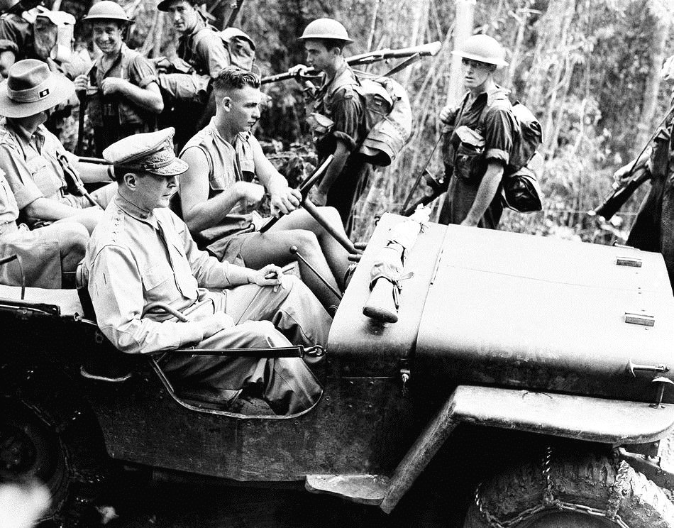 US General Douglas Macarthur Riding a Jeep on Leyte, Philippines, 1944