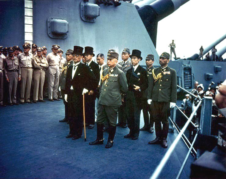Imperial Japan surrenders to the Americans & allies in Tokyo Bay at the end of WWII, 1945