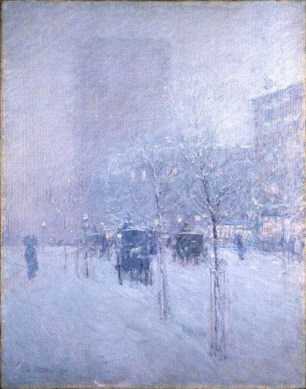NYC in winter, painting by Childe Hassam