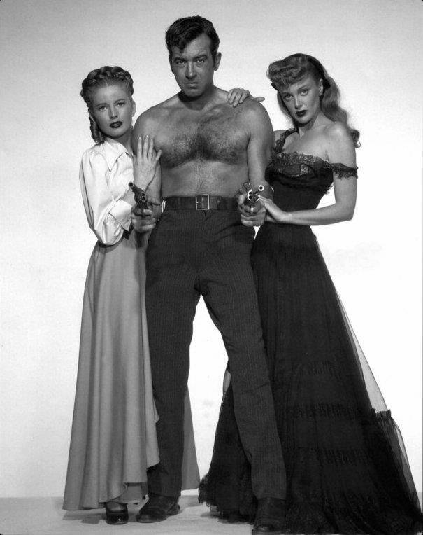 "Coleen Gray, John Payne, and Jan Sterling in a promo shot for ""The Vanquished"", 1953"