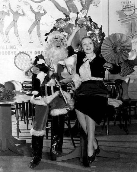 Eddie Cantor and Marlene Dietrich doing a Christmas show for the troops at the Hollywood Canteen during WWII (1940s)