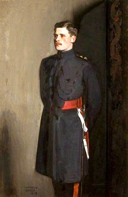 Edmund Antrobus in a Grenadier Guard uniform, a year before being killed in WWI, by Harold Speed,1913