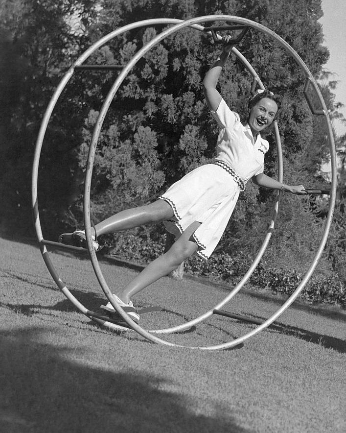 Paulette Goddard getting some exercise,1930s