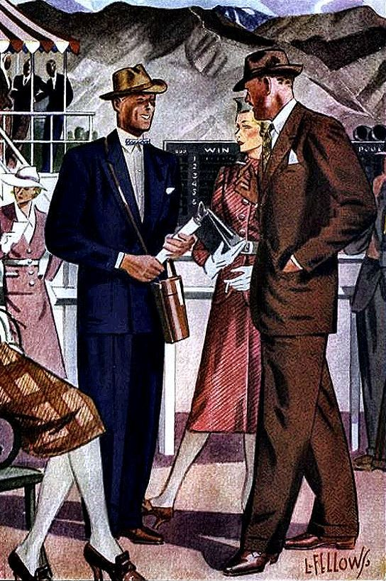 Men's fashion for the horse races by L. Fellows for Esquire magazine, 1930s