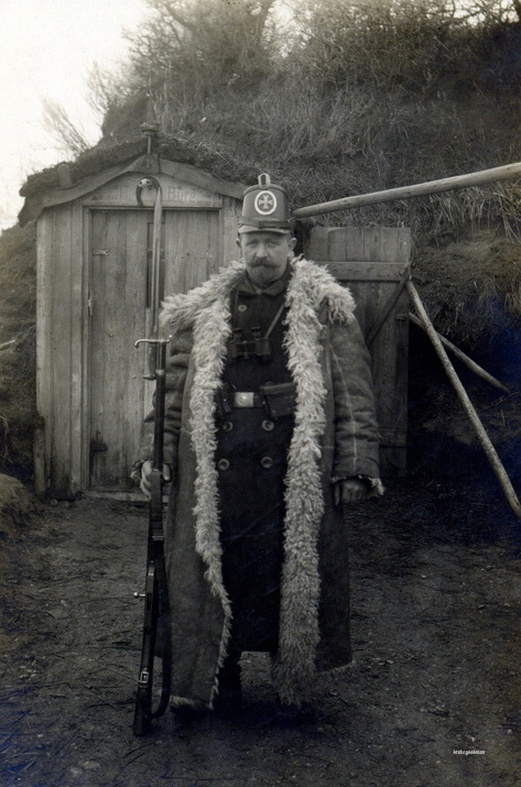 French soldier with a fluffycoat