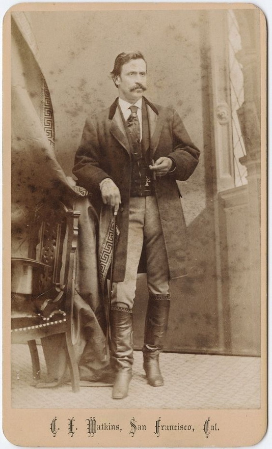 Mustachioed man in boots, San Francisco,1800s