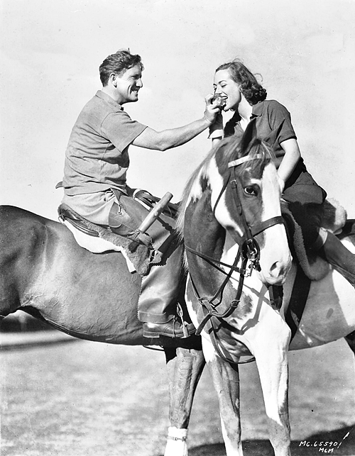 Spencer Tracy and Joan Crawford on poloponies