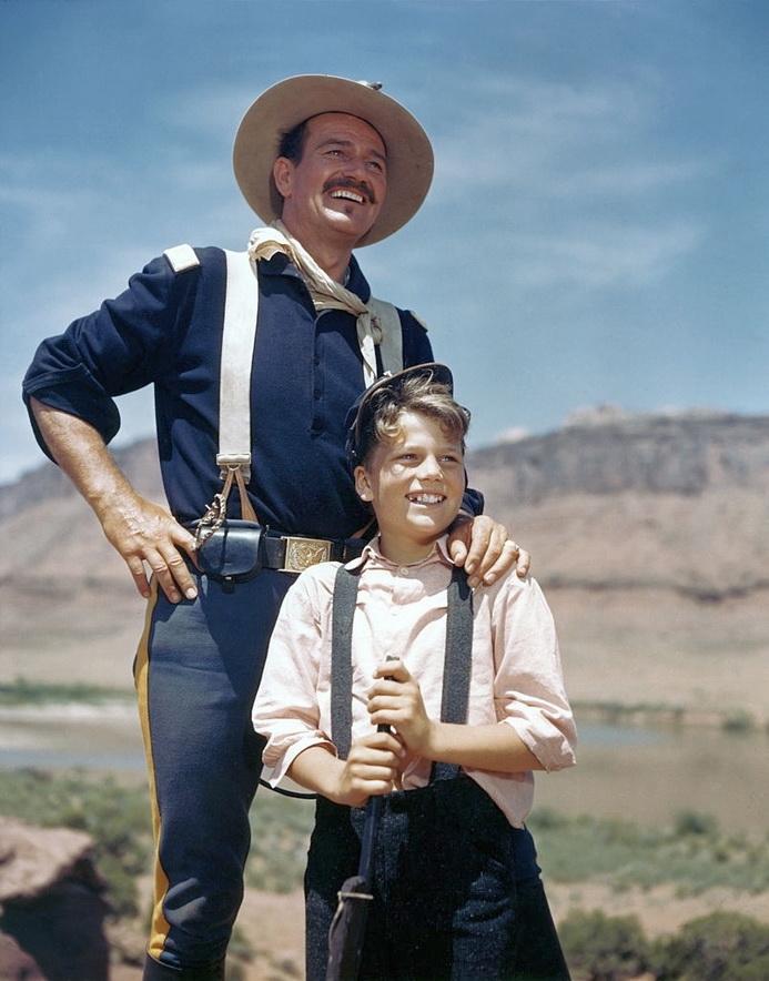 "John Wayne and son in ""RioGrande"""