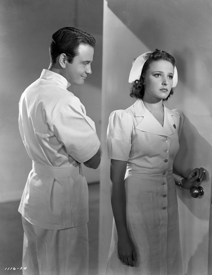 "Lew Ayres as Dr. Kildare and Laraine Day as Nurse Mary Lamont in the ""Doctor Kildare"" movies, 1930s"
