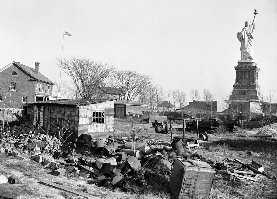 Liberty Island in NYC harbor apparently was used hard and trashed duringWWII