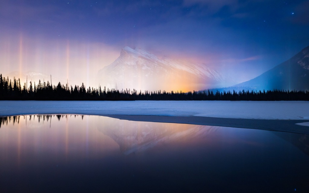Natural lights columns (a rare occurrence that happens when ice crystals get suspended in the air near the earth's surface), Alberta,Canada