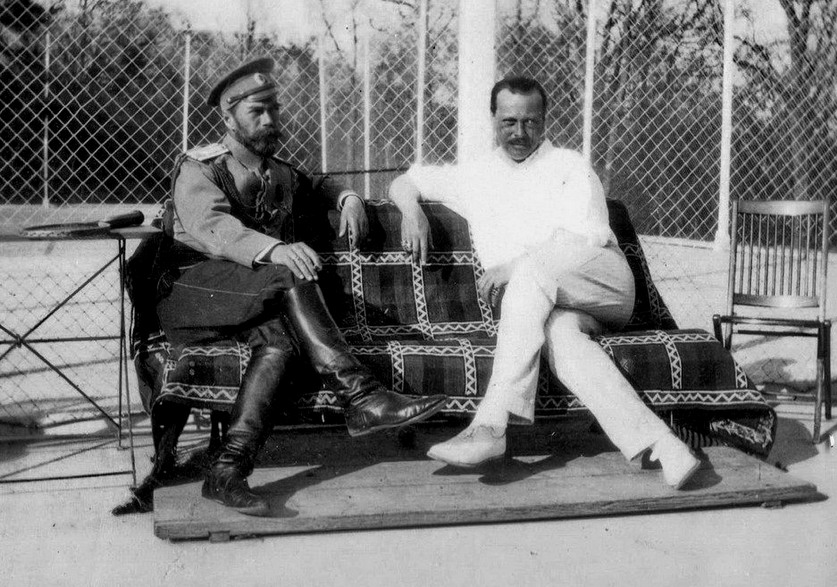 Russian Tsar Nicholas II and the Duke of Hesse (Germany) relax at a tennis court, pre-WWI