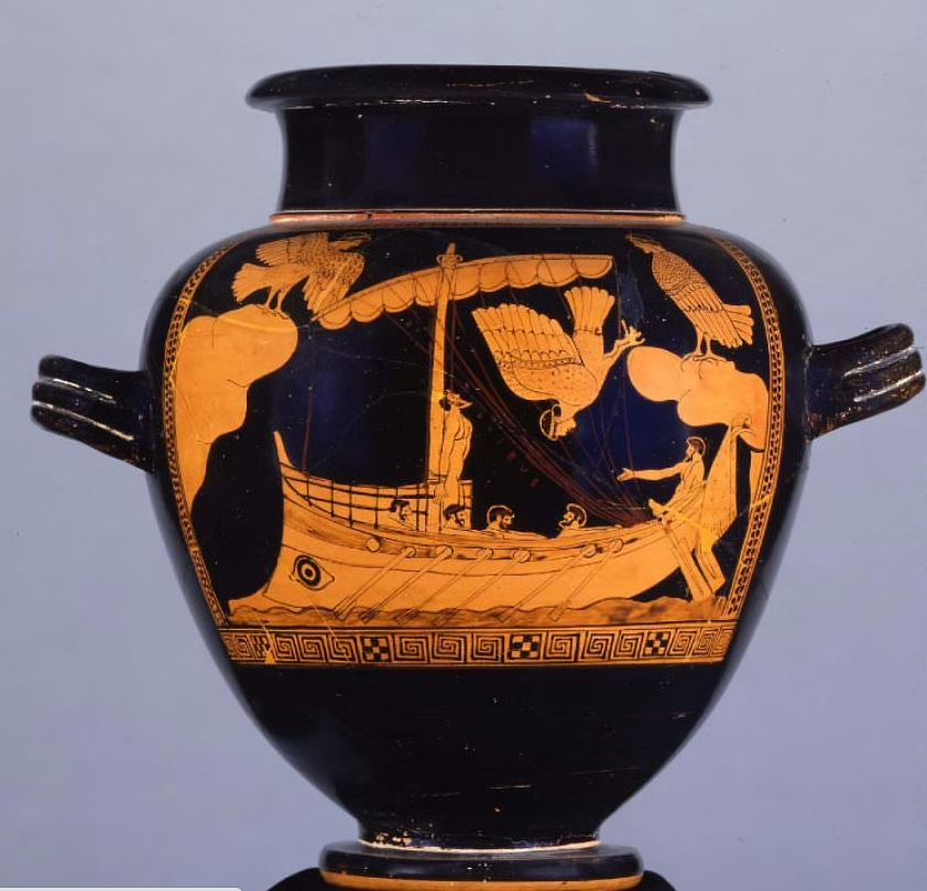 """Ancient Greek pottery depicting a scene from """"TheOdyssey"""""""