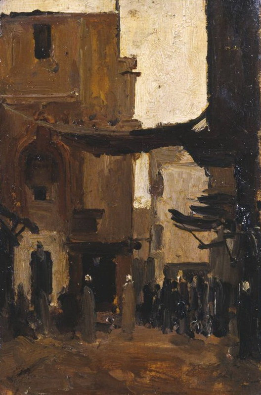 Painting of a Tunisian market street by Baron Rodolphe d'Erlanger