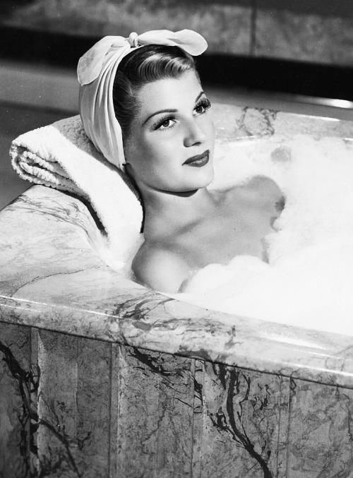 Rita Hayworth taking a bubblebath