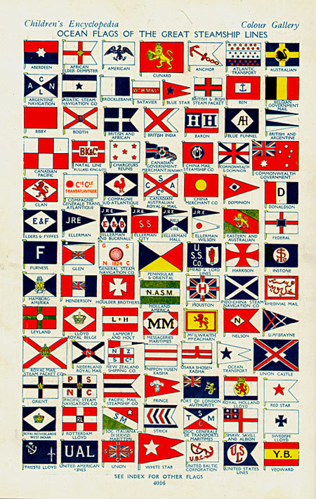 Ocean flags of the great steamship lines