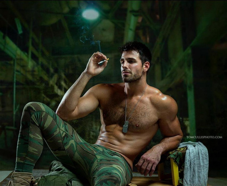 Shirtless soldier model