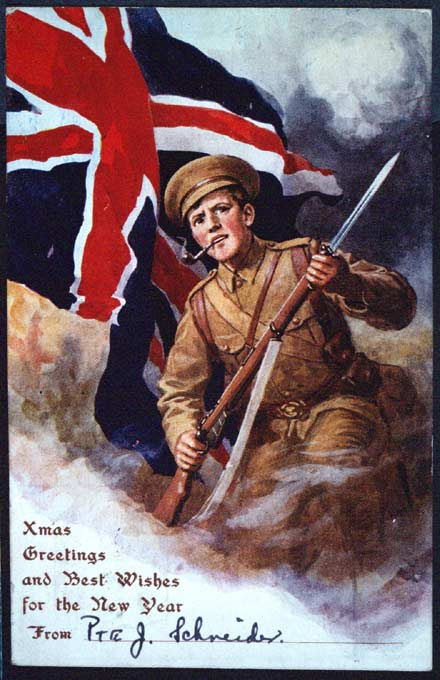 Christmas card from a British soldier, WWI (1910s)